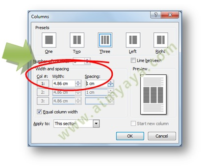 Picture: How to set the column format text in Microsoft Word 2007 using the dialog column