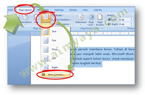 Picture: How to bring up a dialog column to set the column format text in Microsoft Word 2007