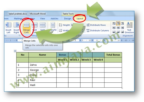 Picture: How to merge table cells in Microsoft Word 2007 by using the Merge Cells (ribbon)
