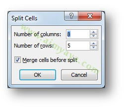 Picture: How to use the Split Cells dialog in Microsoft Word 2007 for breaking cell and table columns